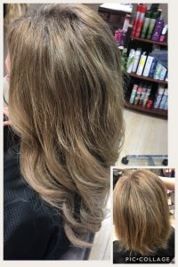 Before and After image of sandy brown hair extensions to replace short tired light brown hair-hair salon solana beach -Salon LG-+1 858 344 7865.