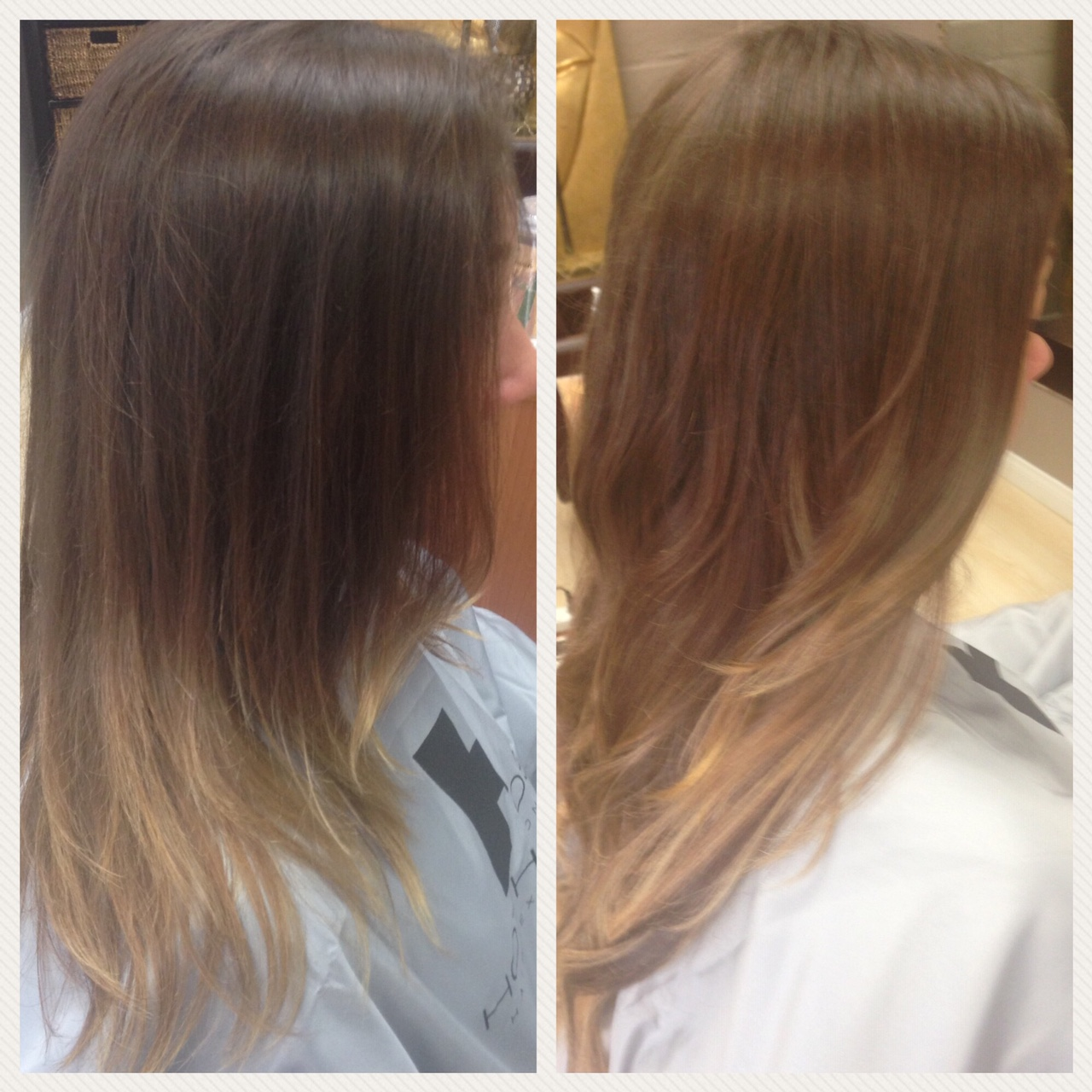 Before and After image of sandy brown hair extensions to replace tired light brown hair-hair salon solana beach -Salon LG-+1 858 344 7865.